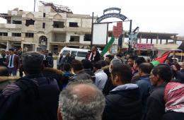 f23554a28 وقفة احتجاجية رفضاً للقرارات الأمريكية حول القدس والجولان في مخيم خان الشيح